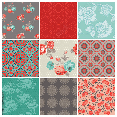 Seamless Vintage Flower Background Set- for design and scrapbook