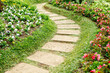 Walk Way on the seasonal flower garden