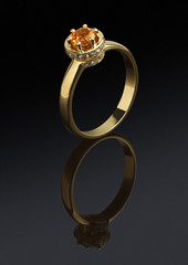 Golden ring with diamonds and gem