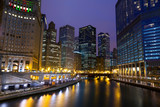 Fototapety Chicago River Walk at night, IL, USA