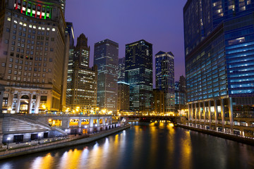 Chicago River Walk at night, IL, USA