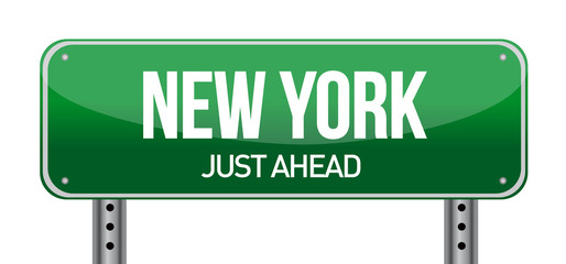 green New york, USA street sign