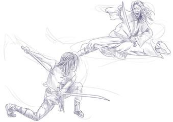 Kung Fu, Chinese martial art. /// A hand drawn illustration