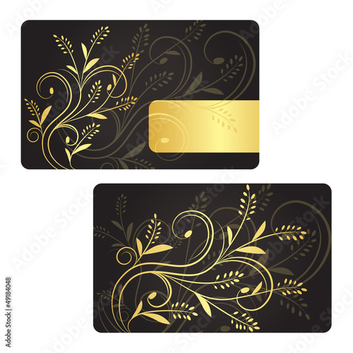 Luxury business card with golden floral decoration.