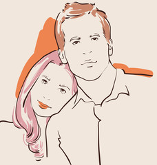 man and woman in love, couple vector illustration
