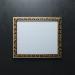 Classic Carved Frame On Black Wall