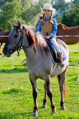 Ranch, horse riding - portrait of lovely girl on a horse