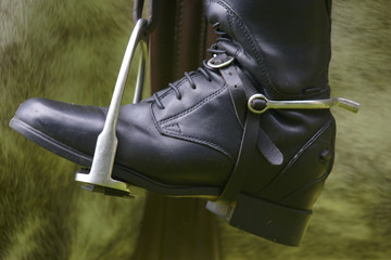 Stirrup with black riding boot