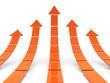 Rising orange arrows 3D
