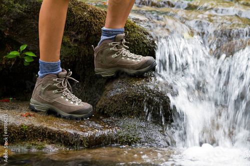 canvas print picture Hiking boots, hiker, tourism in mountains