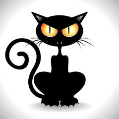 Gatto Nero Arrabbiato - Angry Black Cat Clip Art - Vector