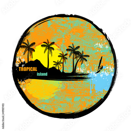 Tropical island grunge stamp