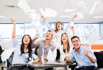 Business group celebrating a triumph