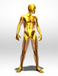 golden, transparent male body with skeleton