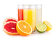 Fresh citrus juices with different citruses
