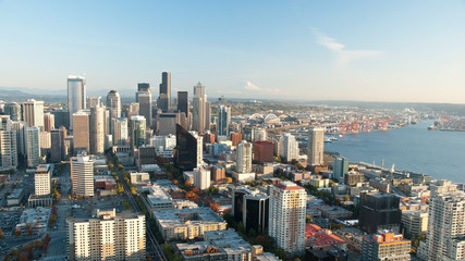 Seattle downtown skyline with view of Mt.Rainier in distance pan