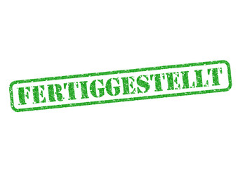 Fertiggestellt Stempel