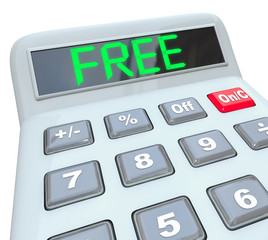 Free Word on Calculator Shows Savings in Sale or Discount Promot