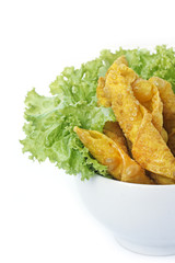 Thai Fried Wonton and salad leaves on white background
