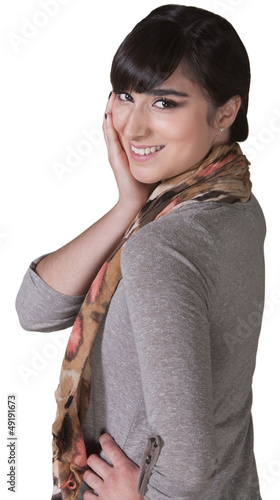 Smiling Woman with Hand on Cheek