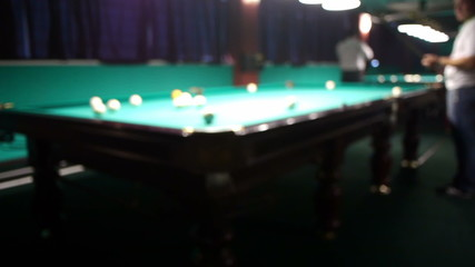 Playing billiards in a poolroom