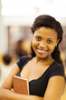 cute female african american college student closeup