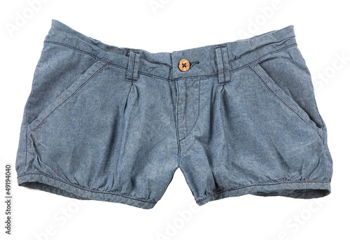 Denim shorts with wooden button