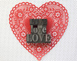 doily heart with love words