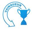 vainqueur sur symbole bleu