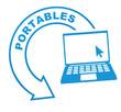 ordinateur portable sur symbole bleu