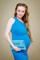 Studio portrait of beautiful pregnant woman