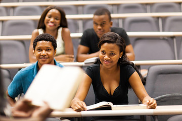 college professor lecturing group of african students