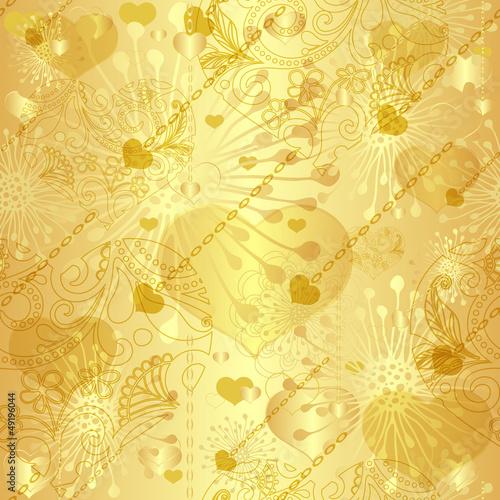 Seamless gold valentine pattern