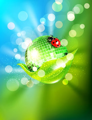 vector background with leaf, mirrored disco ball and a ladybug