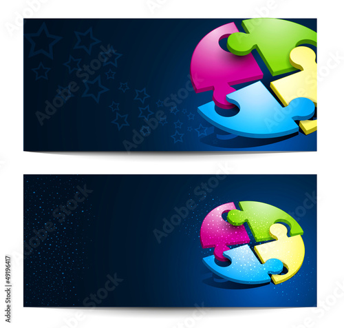 Vector set with business backgrounds with puzzles