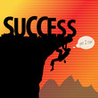 Success concept, rock climbing, vector illustration