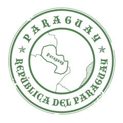 Grunge rubber stamp with the name and map of Paraguay, vector