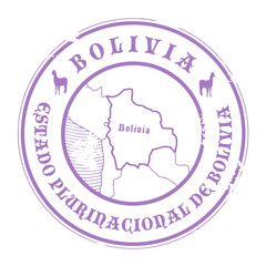 Grunge rubber stamp with the name and map of Bolivia, vector