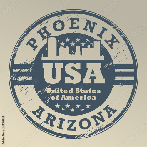 Grunge rubber stamp with name of Arizona, Phoenix, vector