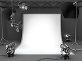 Photo studio equipment background.