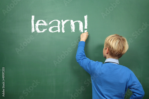 learn  Schoolboy at the Blackboard