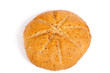 round linen seed bread isolated