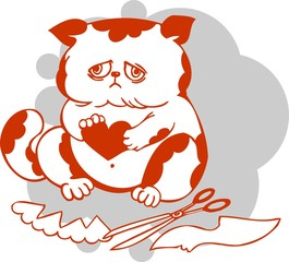 Fat cat prepares Valentine