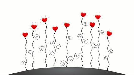 Wachsende Herzblumen in rot und schwarz-weiß – Animationsfilm