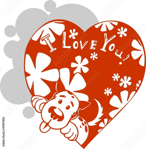 Love dog - vector illustration.