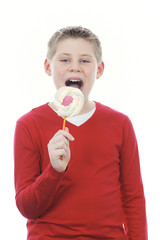 boy with big lollipop