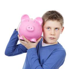 boy with big pink piggy bank