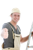 Cheerful handyman giving a thumbs up