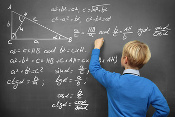 Schoolboy at the Blackboard with Formulas