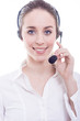 Smiling woman with headphones isolated